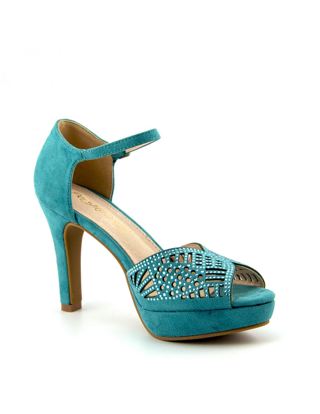 0b0b47e88d8a6 sandalia fiesta mujer tacón color turquesa muy elegante plantilla piel