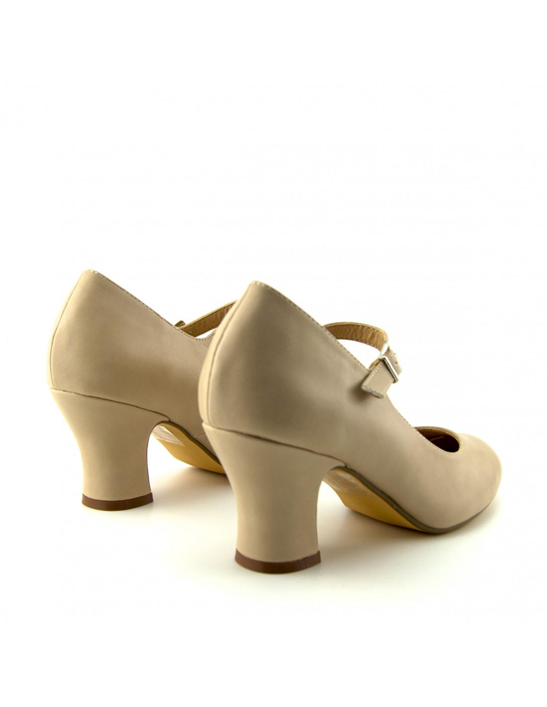 dcffa706 Zapatos de baile de salón cerrados color nude plantilla acolchada
