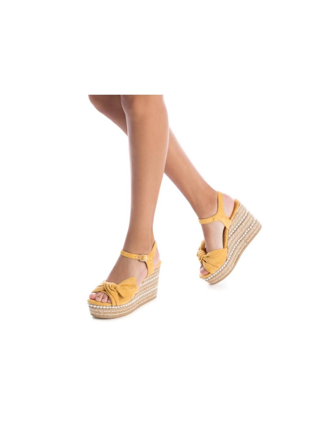 Xti Yute Cuña De Marca Amarillo Verano Primavera Mujer La Color Pk08nwO