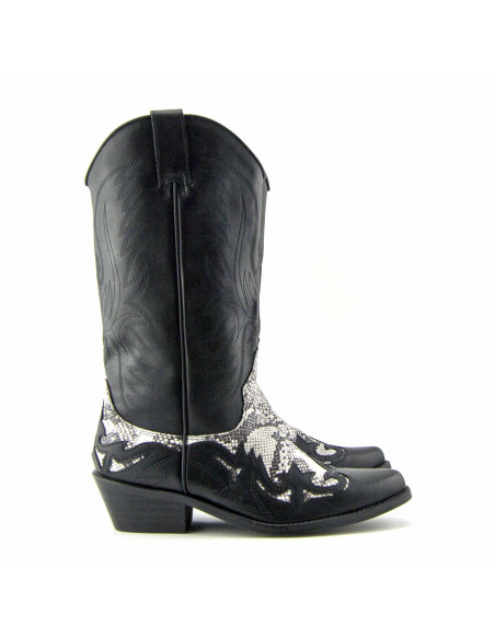 BOTA CAMPERA NEGRA ESTAMPADA SERPIENTE BLANCO